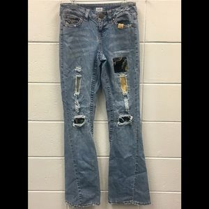 Cache Patchwork Distressed Bootcut Jeans Whiskered